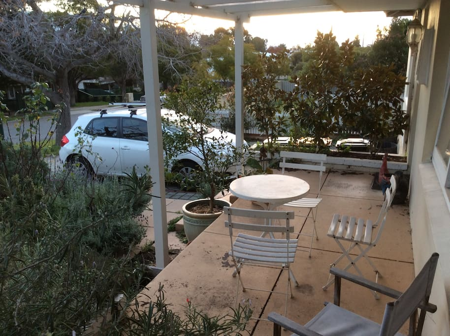 The front verandah is a great place to relax and enjoy the afternoon sun with a drink!