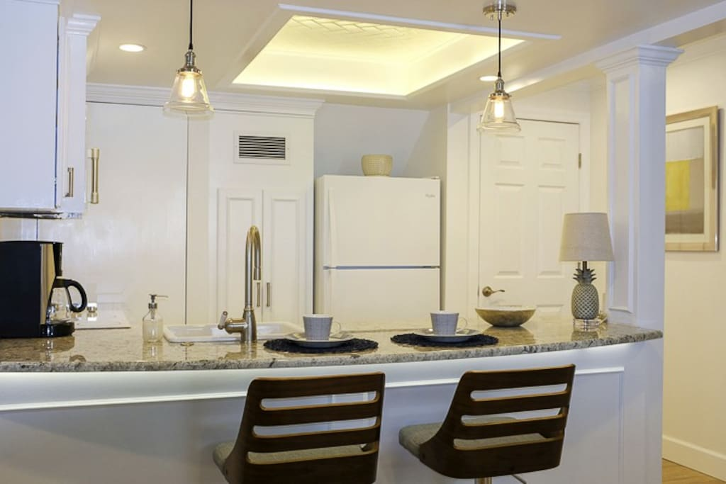 Kitchen with Granite  Counter top & Dimmable Lighting Options