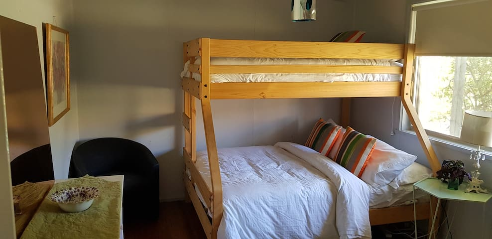 This is the second bedroom it sleeps 2 in the double bed at the bottom, 1 in the single bed above.
