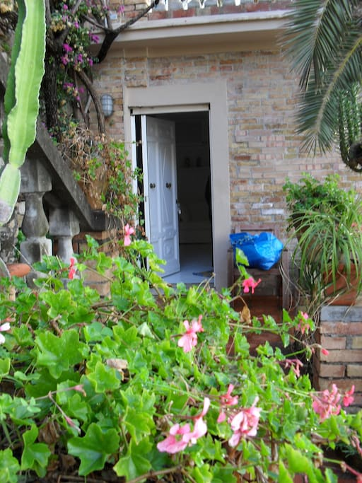 Colorful plants adorn the terrace outside the studio door.