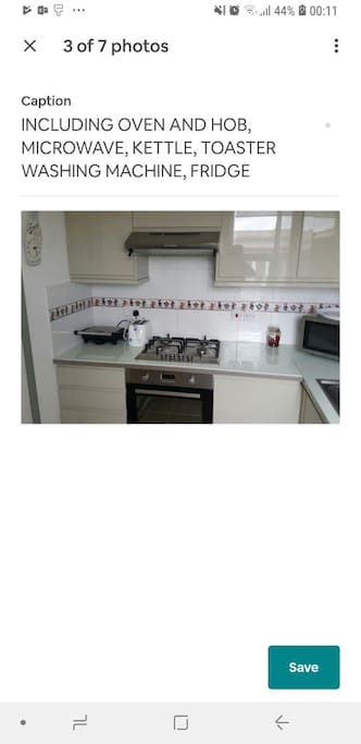 The kitchen.  includes toaster, kettle, gas oven, fridge, microwave and washing machine