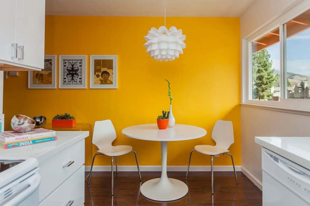 A vibrant modern sunlight kitchen for that morning coffee!
