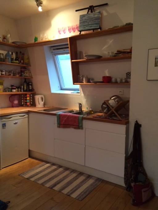 Kitchen (spacious for a studio- and a Window!
