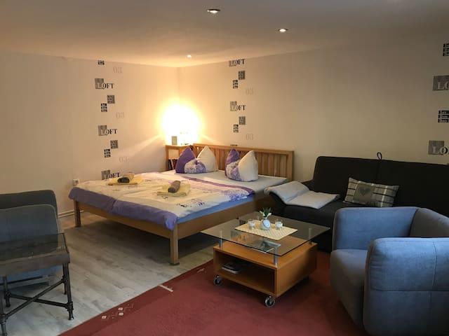 Großer Wohn-und Schlafbereich (Bett 1.80x2.00m)  Das Sofa ist zusätzlich ausklappbar( 1.30x 2.00m)