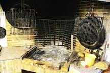 Cocina de leña integrada en la cocina