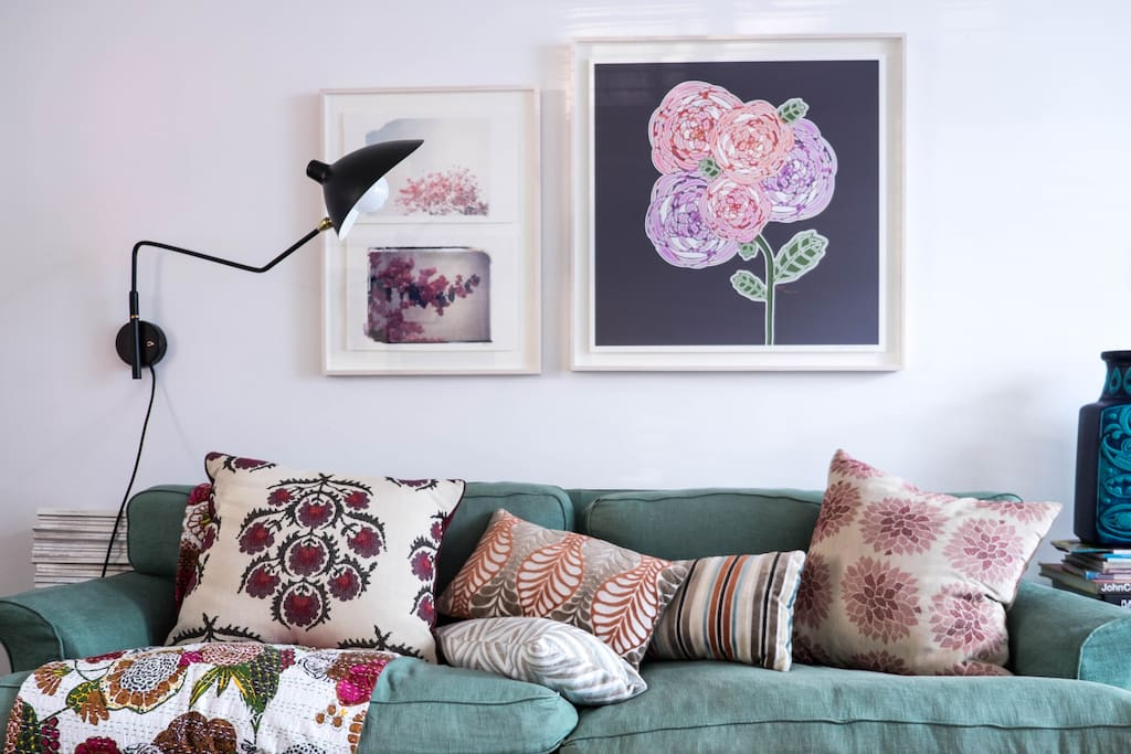 Living room sofa with my textile designs cushions