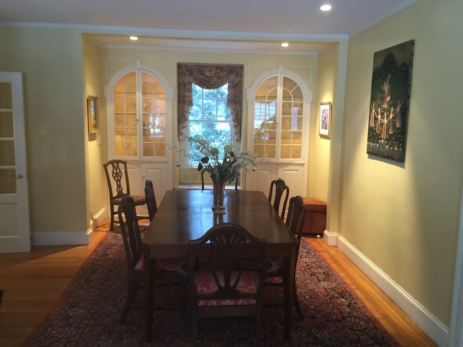 Large dining room  with table suitable for 8/10