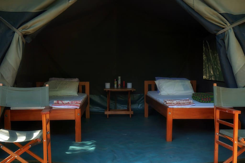 Twin Beds, Chairs, Tables in the tent