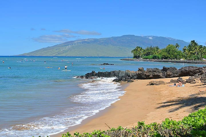 Scenic Cove Beach is located only half a block away from the apartment.  Cove beach is the premiere spot in South Maui for surfing and paddleboarding