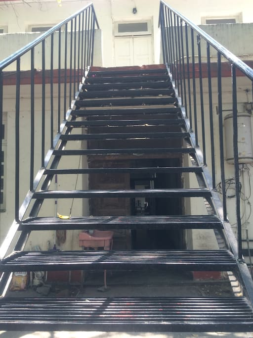 Stairs going to first floor.