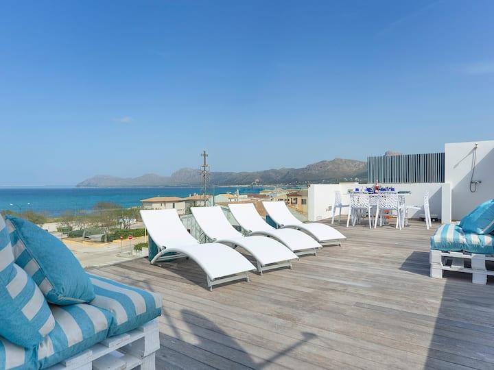 Sea View House with terrace Son Serra Mallorca