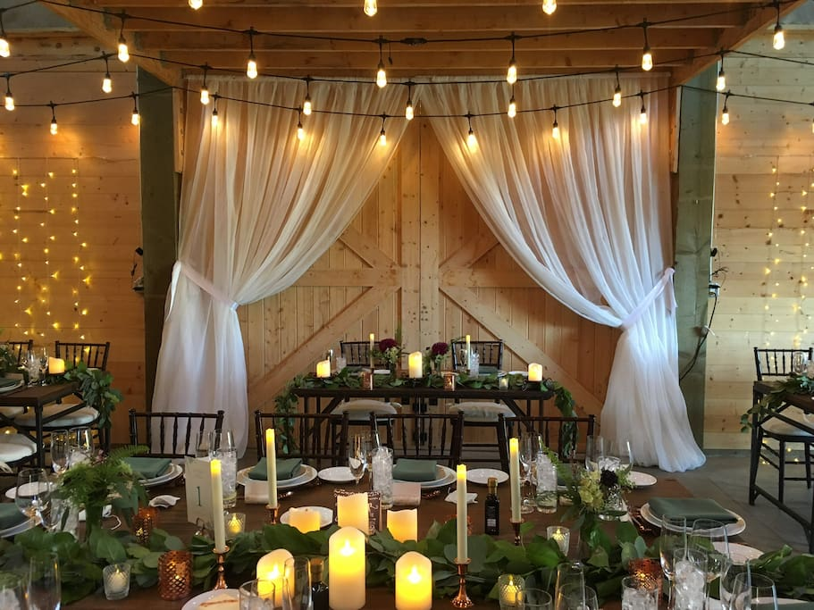 Barn dressed up For a wedding. We host events up to 80, sit down dinner 65 allows for a dance floor.