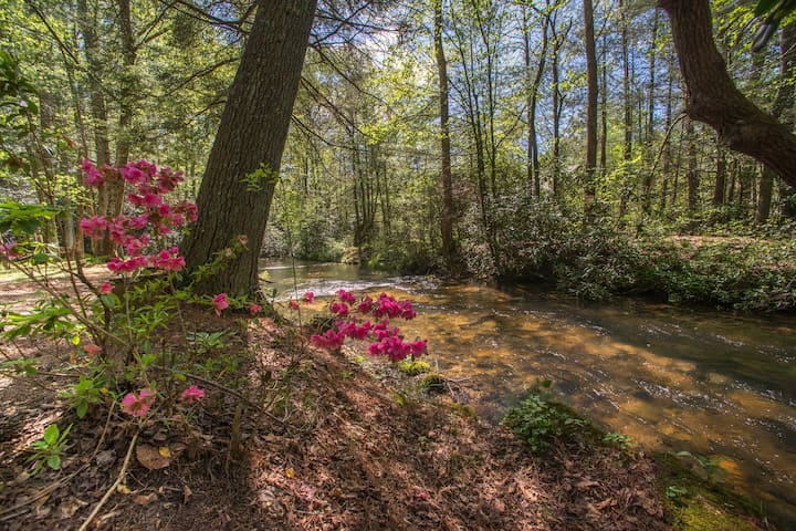 Charming creekside home w/ deck & firepit - great for families!