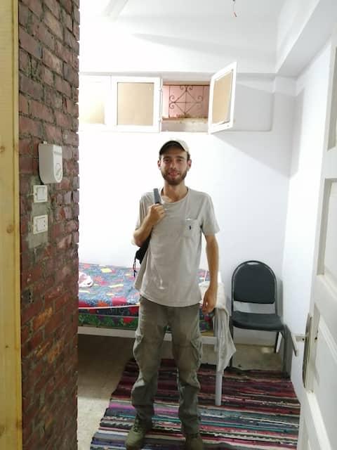 simple single room with bathroom