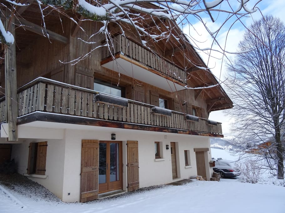 Private use of ground floor apartment with own private entrance and ski locker. Parking right by the house on the drive.