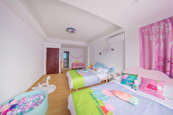 珠海横琴亦可民宿,小猪佩奇亲子童趣双床房