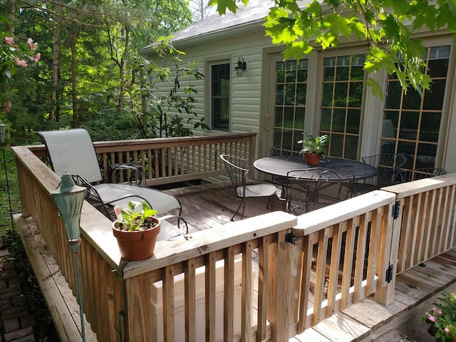 The back deck can be accessed directly from the television room or from the kitchen via the gate.