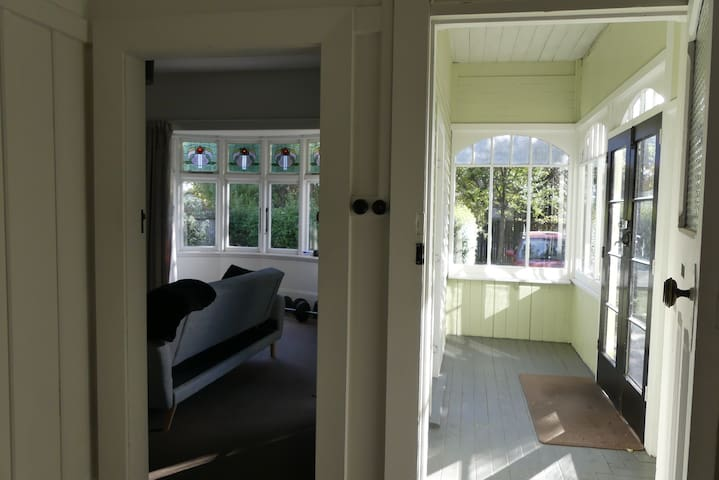 Entry of the house by the sunroom, ideal to safely store outdoor equipments (bicycle, skis, hiking gear, etc.)