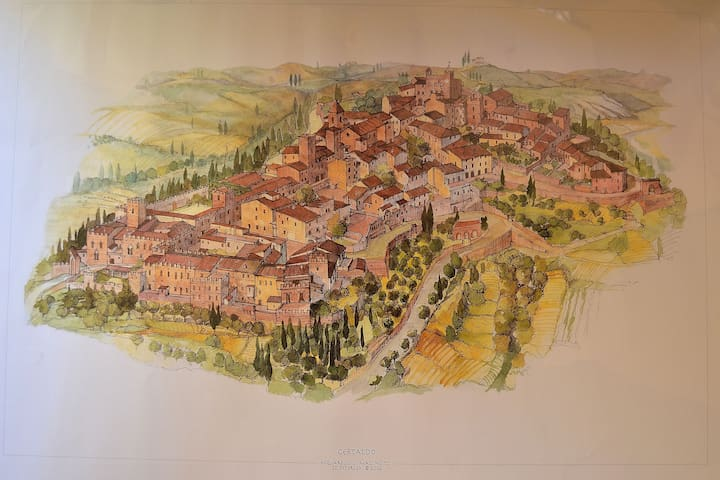 A Painting of Certaldo medieval village!