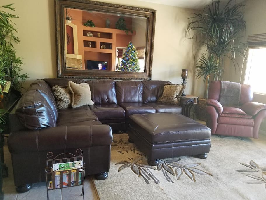 "Large sectional with 65"" TV"