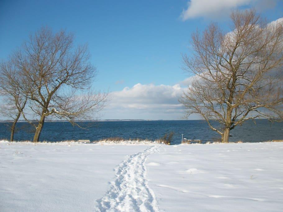 der Weg zum Strand bei Schnee