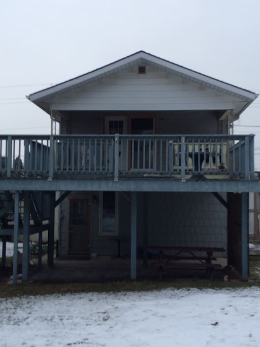 "Big back deck and parking check out full you tube ""13 Main Street weekend rentals grand bend ""   Guests stay on the top floor only. BBQ area and gazebo are down stairs."
