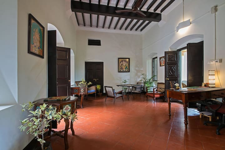 Entrance with Mysore  Style Art, Carrom table and lovingly restored antique heirloom furniture