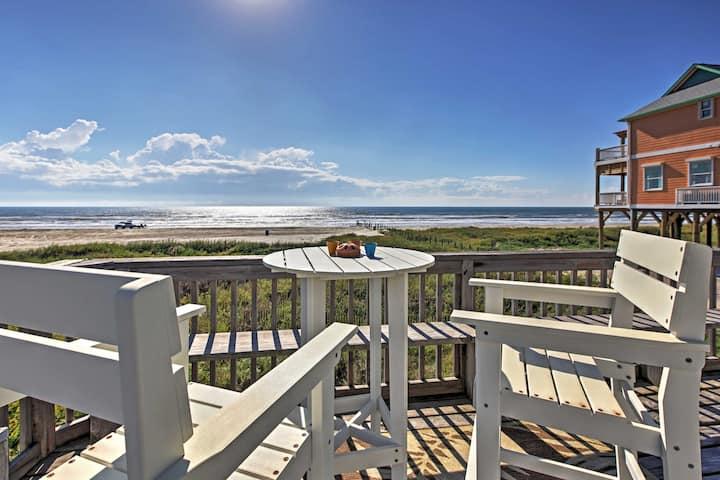 Beachfront Galveston Home w/ Panoramic Gulf Views!