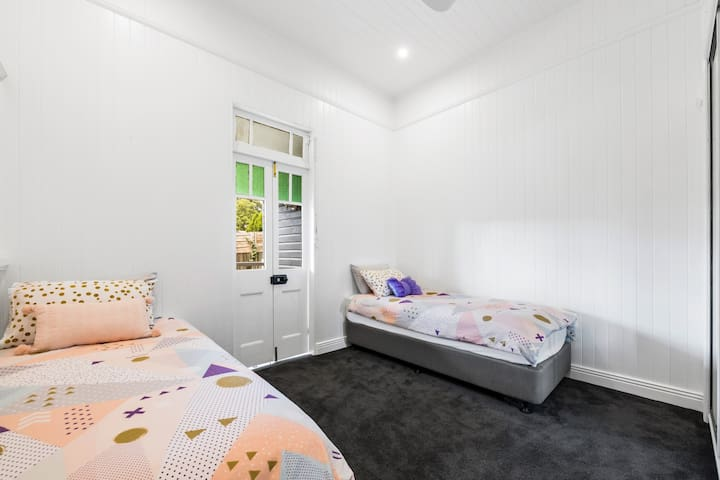 Bedroom 3, comprises of two long single beds which can be converted in to one king size bed