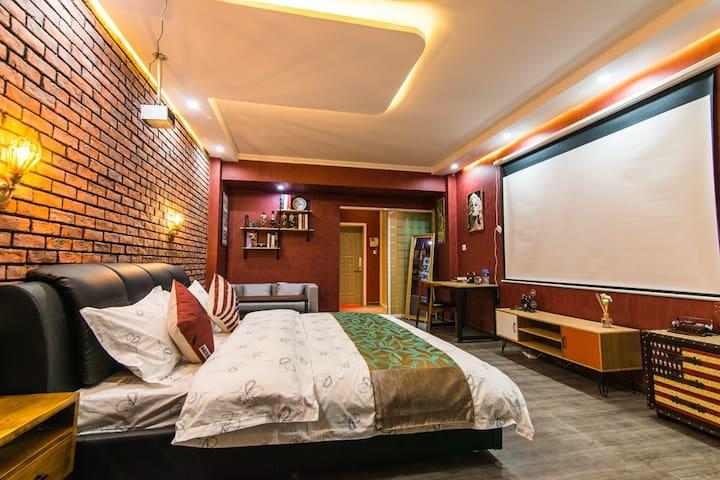兰州西高铁站 甘肃省博物馆 美式复古3D投影大床房