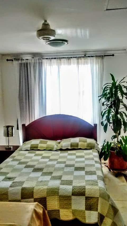 Amplia Habitacion cama dobl balcón baño privado/tv