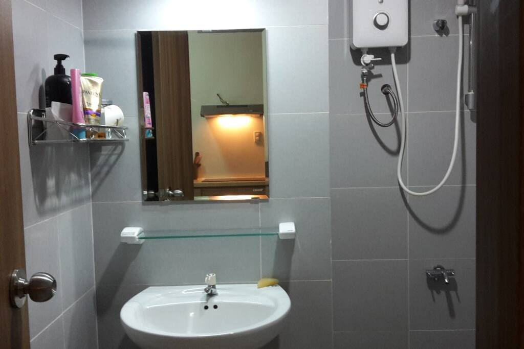 Basic Vietnamese bathroom with hot shower :) toilet and sink