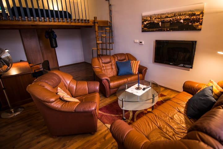 Living room with Cable TV nad Wi-Fi (in mezzanine is fourth bedroom)