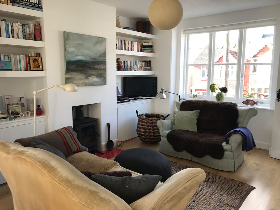 Cosy living room with a wood-burner