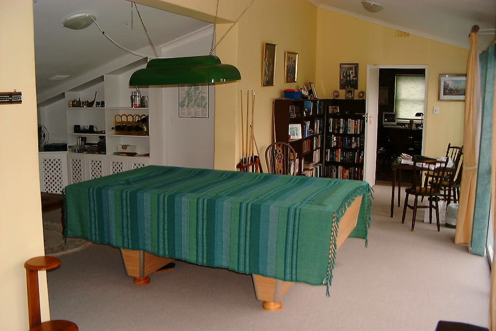 Games room, pool table covered