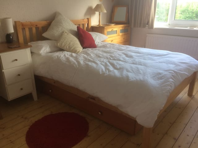 Quiet double near town.  Own bathroom.  Parking.