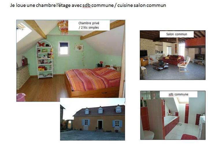 *Chambre privée Etage -verte-2 lits simples    20€