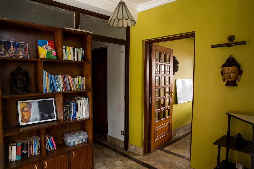 We have a lots of books. Just one section of bookshelves when you enter the house.