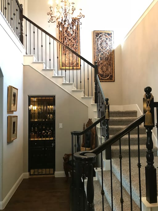 Elegant entry with wine room