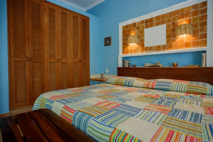 Guest House Bedroom with a king size bed, closet, safe, books for your reading pleasure.