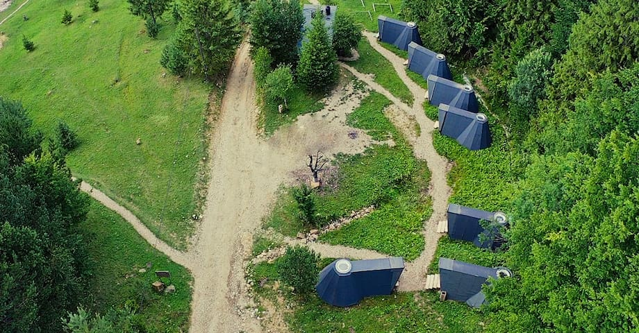 Drone view of The Bear's Cottages!