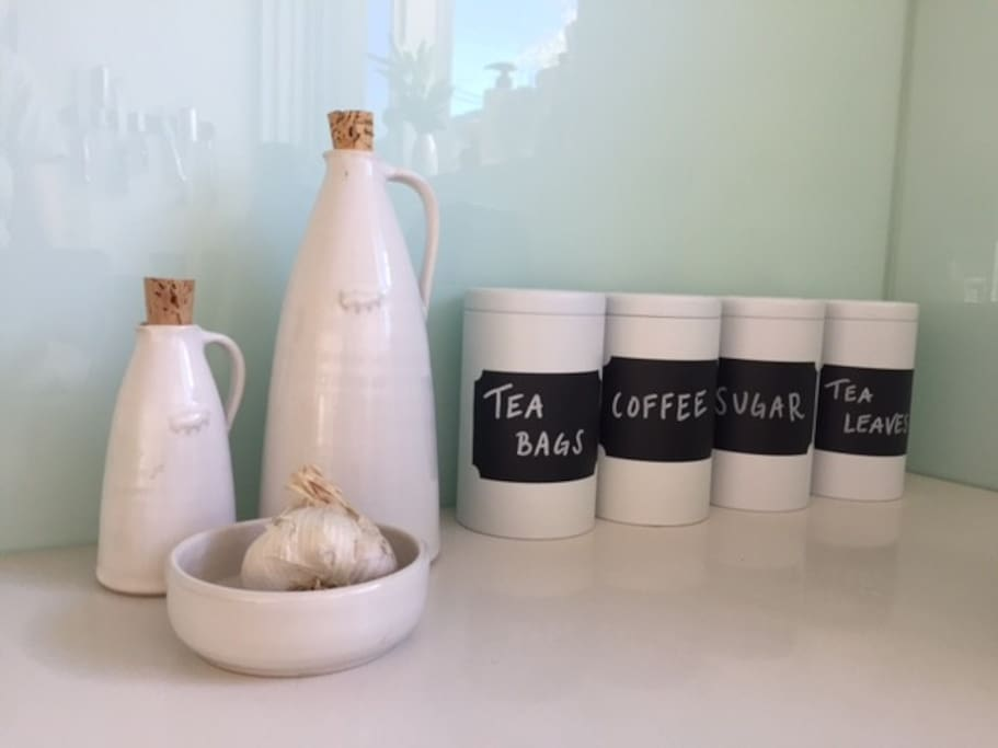 We love our Bison ceramics and a great selection of tea and coffee (more in the pantry)