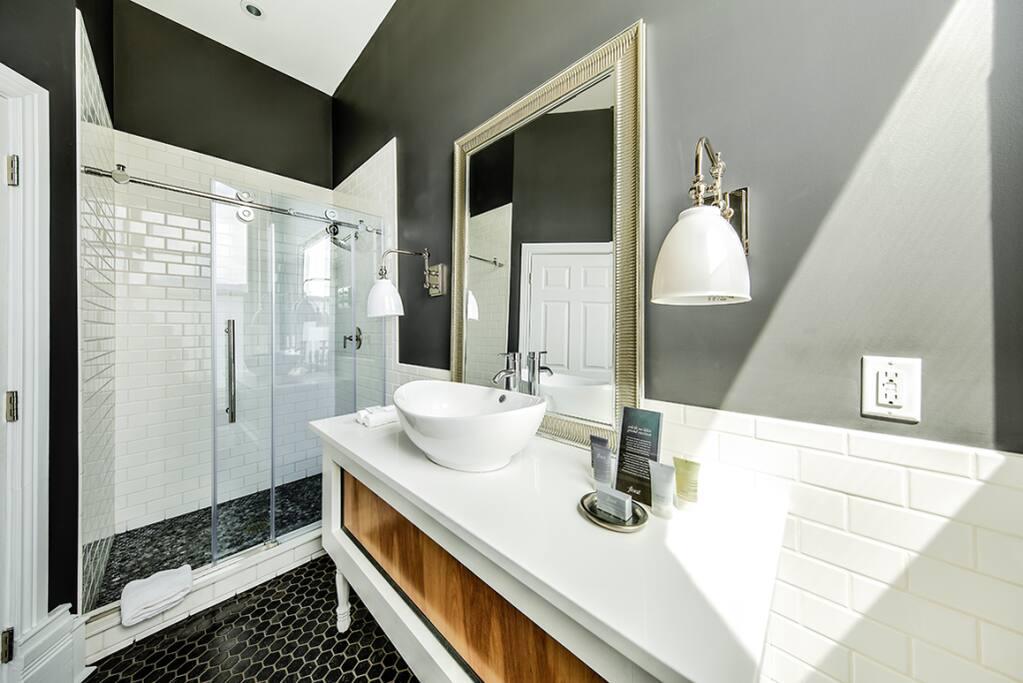 Bathroom - custom shower and vanity