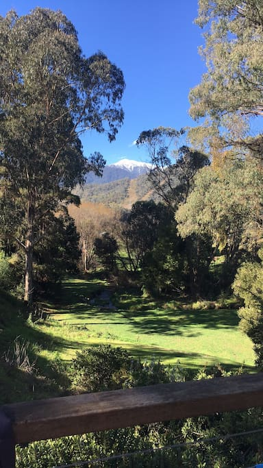 Winter views of Mt Bogong from the house decking