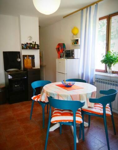 кухня-гостиная основного этажа, вид от входа в дом
