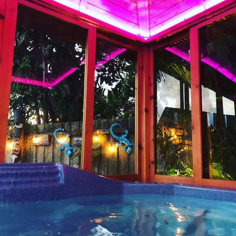 Hot tub at night.  Private with LED lights.