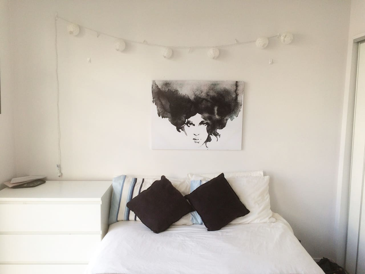 Sunny bedroom with double bed