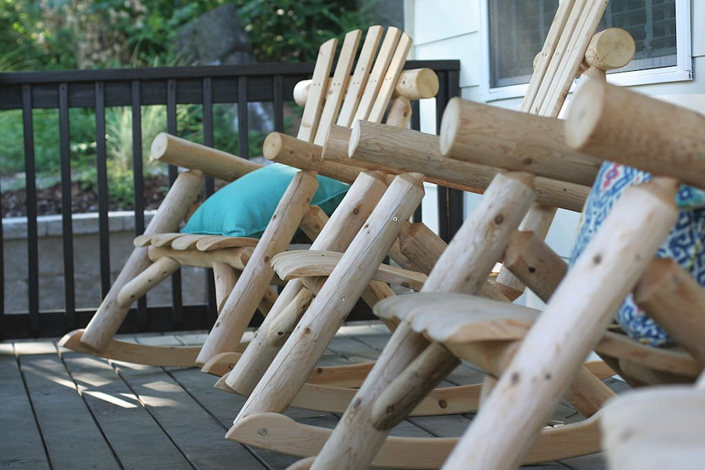 Enjoy a cup of coffee on the wraparound porch - southern style.