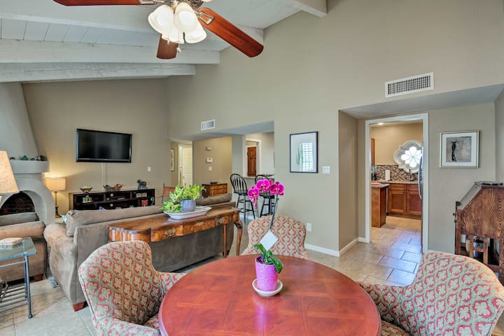 Framed by vaulted ceilings, the living area provides ample space to stretch out.
