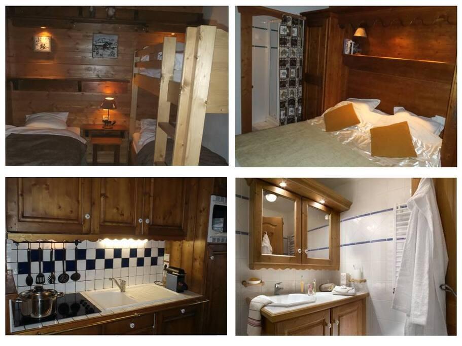 Chambre, suite parentale, cuisine et salle de bain